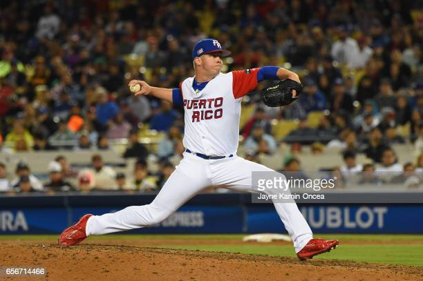 Pitcher Emilio Pagan of team Puerto Rico in the ninth inning against team United States during Game 3 of the Championship Round of the 2017 World...