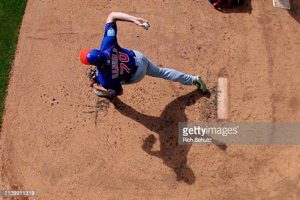 Pitcher Eric Hanhold of the New York Mets warms up in the bullpen during a spring training baseball game against the Houston Astros at Fitteam...