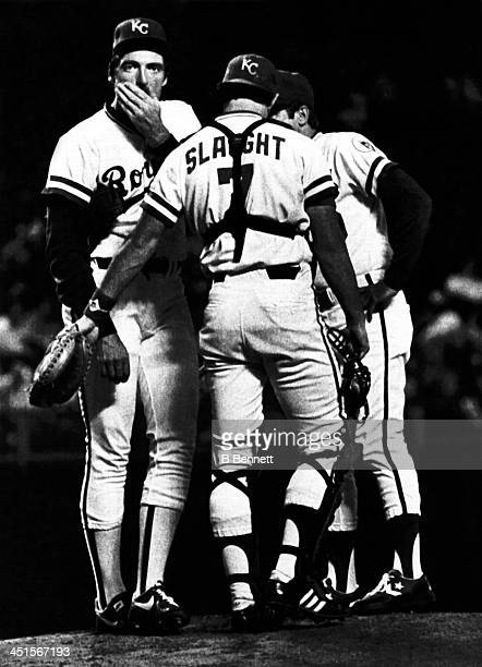 Pitcher Eric Rasmussen of the Kansas City Royals is in disbelief as he is taken out of the game after giving up 8 hits and 5 runs to the Baltimore...