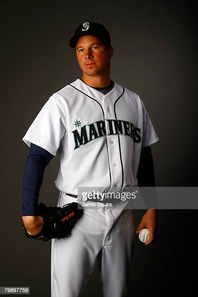 Pitcher Erik Bedard of the Seattle Mariners poses for a portrait during spring training on February 21 2008 at the Peoria Sports Complex in Peoria...
