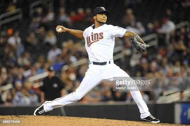 Pitcher Ervin Santana of the Minnesota Twins throws a strike ending the fourth inning against the Chicago White Sox at Target Field on September 1...