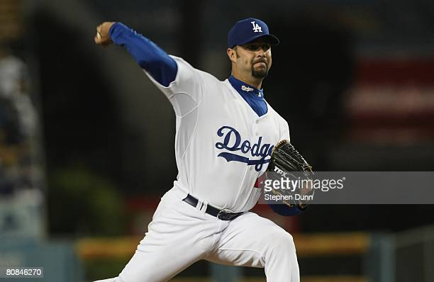 Pitcher Esteban Loaiza of the Los Angeles Dodgers throws against the Pittsburgh Pirates during their MLB game on April 15 2008 at Dodger Stadium in...