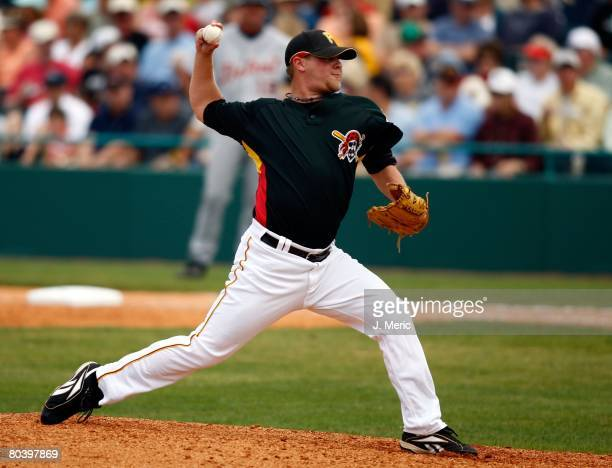 Pitcher Evan Meek of the Pittsburgh Pirates pitches against the Detroit Tigers during the Grapefruit League Spring Training game on March 26 2008 at...