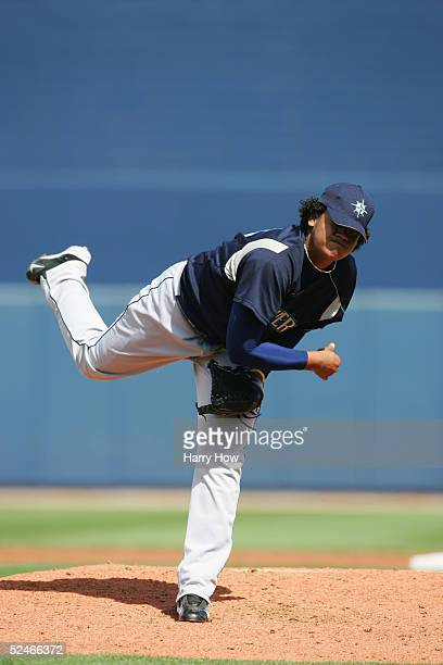 Pitcher Felix Hernandez of the Seattle Mariners delivers against the San Diego Padres during the preseason game on March 5 2005 at Peoria Stadium in...