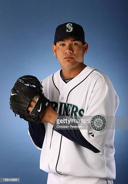 Pitcher Felix Hernandez of the Seattle Mariners poses for a portrait during spring training photo day at Peoria Stadium on February 21 2012 in Peoria...