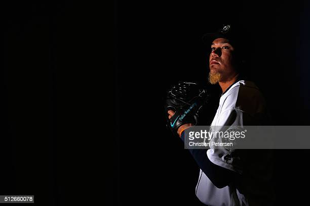 Pitcher Felix Hernandez of the Seattle Mariners poses for a portrait during spring training photo day at Peoria Stadium on February 27, 2016 in...