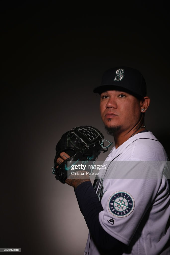 Pitcher Felix Hernandez #34 of the Seattle Mariners poses for a portrait during photo day at Peoria Stadium on February 21, 2018 in Peoria, Arizona.