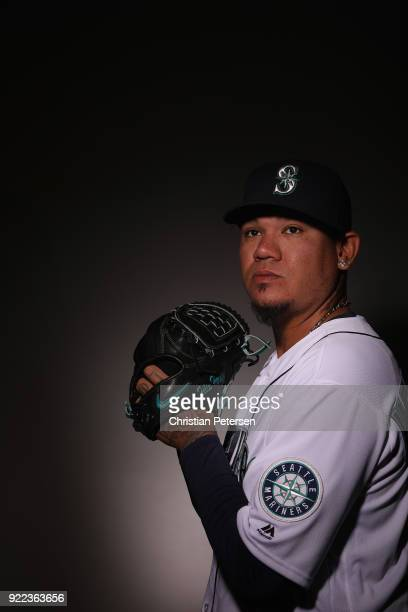 Pitcher Felix Hernandez of the Seattle Mariners poses for a portrait during photo day at Peoria Stadium on February 21 2018 in Peoria Arizona