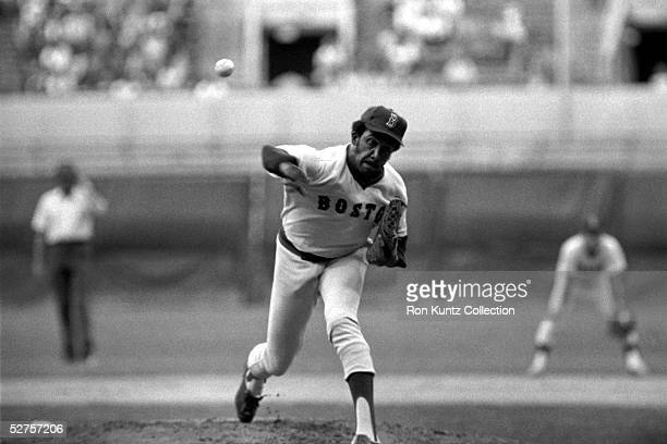 Pitcher Fergie Jenkins of the Boston Red Sox delivers a pitch during a game on July 13 1977 against the Cleveland Indians at Municipal Stadium in...
