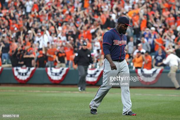 Pitcher Fernando Rodney of the Minnesota Twins walks off of the field after giving up a walk-off home run to Adam Jones of the Baltimore Orioles...