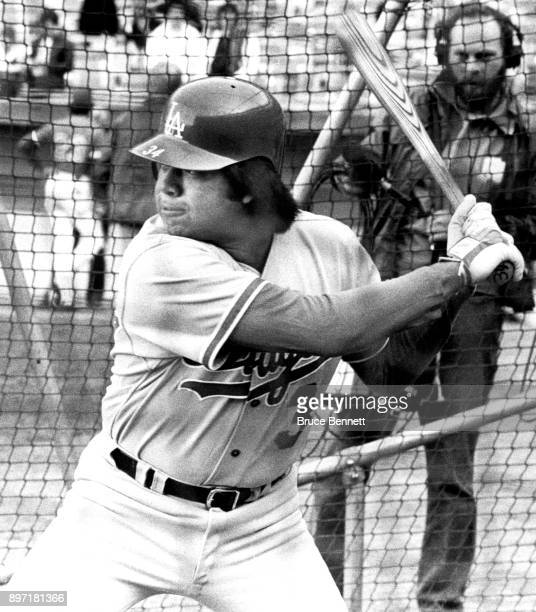 Pitcher Fernando Valenzuela of the Los Angeles Dodgers takes batting practice before an MLB game circa 1983