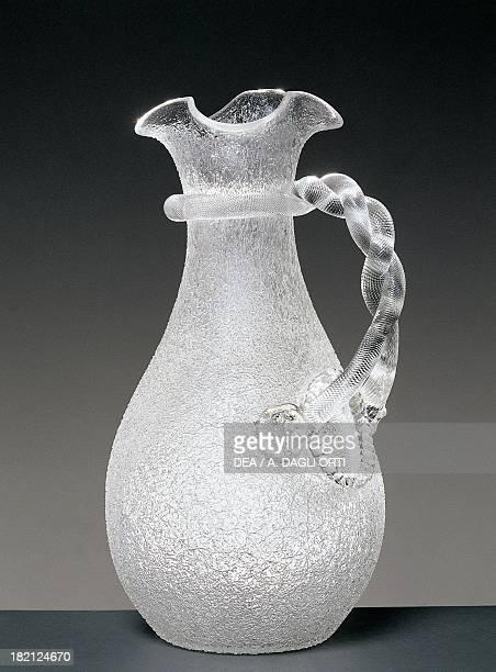 Pitcher for carrying ice, frosted glass, 1930-1939, Italy, 20th century.