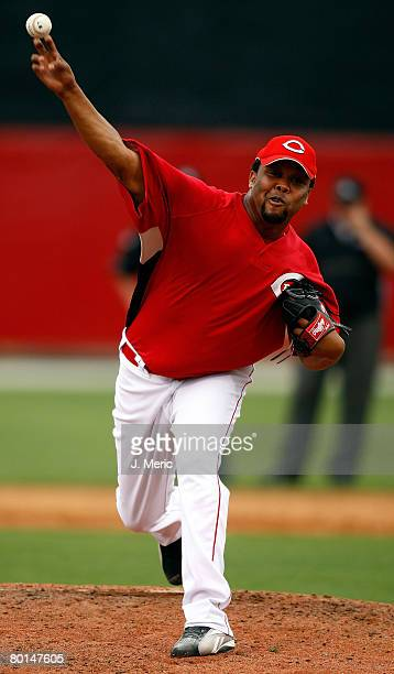 Pitcher Francisco Cordero of the Cincinnati Reds makes a pitch against the New York Yankees during the Grapefruit League Spring Training game on...
