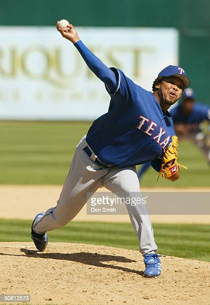 Pitcher Francisco Cordero of the Texas Rangers pitches during the game against the Oakland A's at the Network Associates Coliseum on April 7 2004 in...