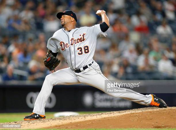 Pitcher Francisco Liriano of the Detroit Tigers in action in an MLB baseball against the New York Yankees on August 30 2018 at Yankee Stadium in the...