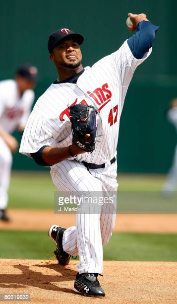 Pitcher Francisco Liriano of the Minnesota Twins makes a pitch against the Boston Red Sox during the Grapefruit League Spring Training game on March...