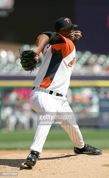 Pitcher Francisco Liriano of the World Team delivers a pitch against Team USA during the 2005 Major League Baseball Futures Game at Comerica Park on...