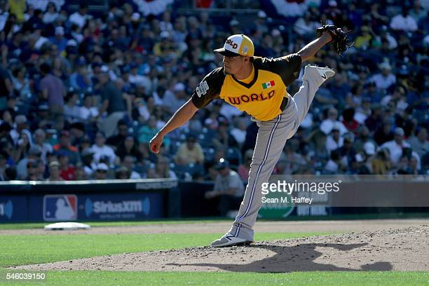 Pitcher Francisco Rios of the Toronto Blue Jays and the World Team pitches during the SiriusXM AllStar Futures Game at PETCO Park on July 10 2016 in...