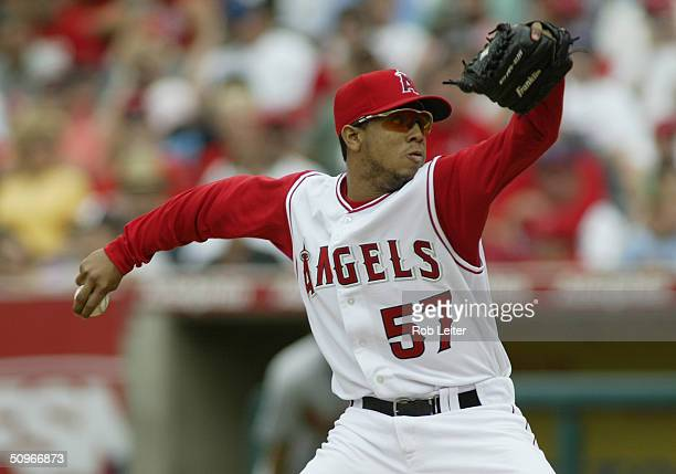 Pitcher Francisco Rodriguez of the Anaheim Angels on the mound during the game against the Baltimore Orioles at Angel Stadium of Anaheim on May 23...