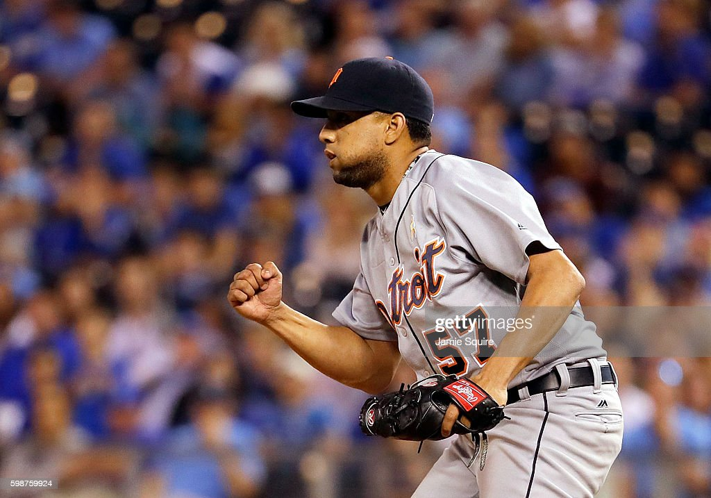 Pitcher Francisco Rodriguez #57 of the Detroit Tigers celebrates as the Tigers defeat the Kansas City Royals 7-6 to win the game at Kauffman Stadium on September 2, 2016 in Kansas City, Missouri.
