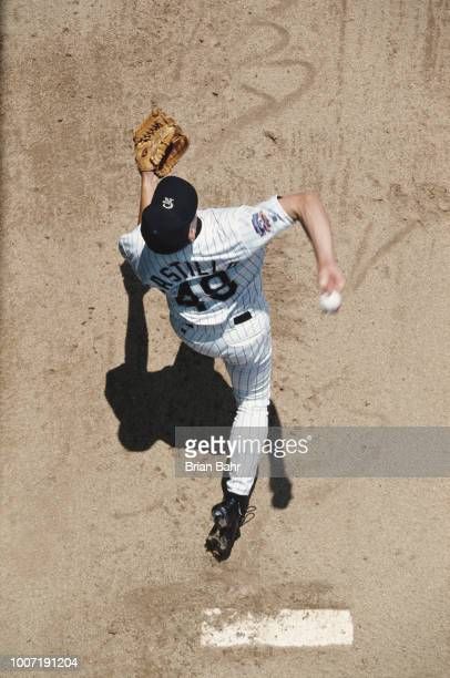 Pitcher Frank Castillo of the Colorado Rockies throws a pitch against the Montreal Expos during their Major League Baseball National League game on...