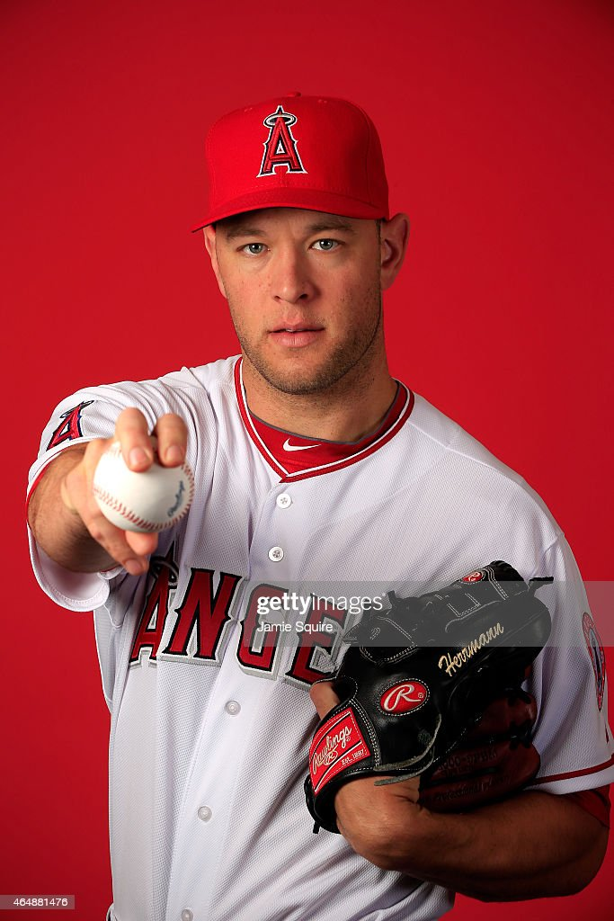 Pitcher Frank Herrmann #41 poses during Los Angeles Angels of Anaheim Photo Day on February 28, 2015 in Tempe, Arizona.
