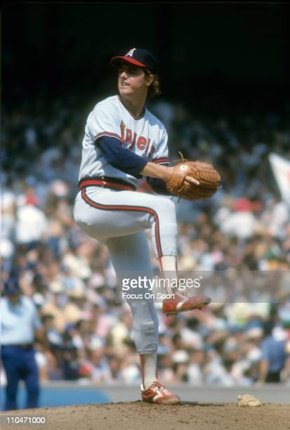 Pitcher Frank Tanana of the California Angels pitches against the New York Yankees during a Major League Baseball game circa 1976 at Yankee Stadium...