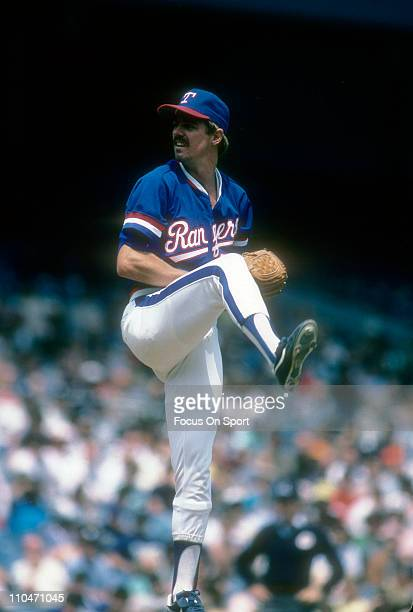 Pitcher Frank Tanana of the Texas Rangers pitches against the New York Yankees during a Major League Baseball game circa 1985 at Yankee Stadium in...