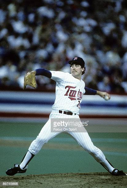 Pitcher Frank Viola of the Minnesota Twins throws a pitch against the St Louis Cardinals in game seven of the world series October 25 1987 at the...
