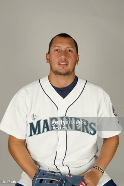 Pitcher Freddy Garcia of the Seattle Mariners poses for a portrait during the 2004 MLB Spring Training Photo Day at Peoria Stadium on February 27...