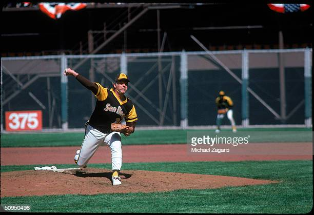 Pitcher Gaylord Perry of the San Diego Padres pitching in 1979 Perry played for the Padres from 197879