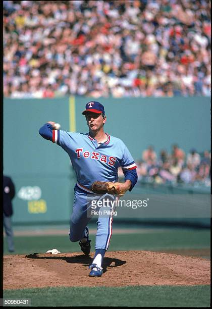 Pitcher Gaylord Perry of the Texas Rangers pitching at Fenway Park in Boston Massachusetts circa 1977 Perry pitched for the Rangers from 19751977 and...