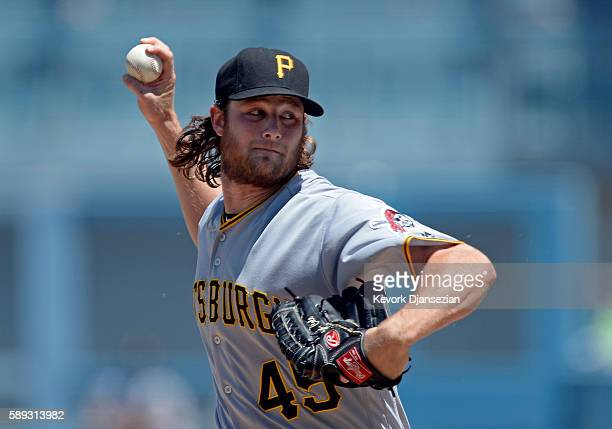 Pitcher Gerrit Cole of the Pittsburgh Pirates throws against the Los Angeles Dodgers during the first inning of the baseball game at Dodger Stadium...