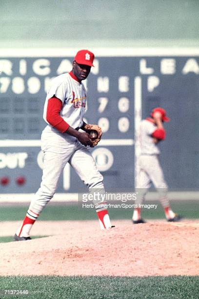 Pitcher Gibson of the St Louis Cardinals pitching during 1967 World Series game against the Boston Red Sox in October 4 1967 at Fenway Park in Boston...