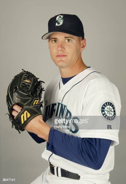 Pitcher Gil Meche of the Seattle Mariners poses for a portrait during the 2004 MLB Spring Training Photo Day at Peoria Stadium on February 27 2004 in...