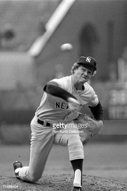 Pitcher Gil Patterson of the New York Yankees throws a pitch during a game on July 8 1973 against the Cleveland Indians at Municipal Stadium in...