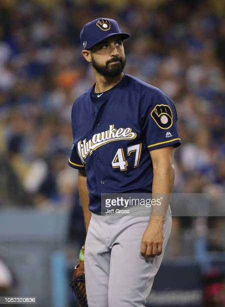 Pitcher Gio Gonzalez of the Milwaukee Brewers looks on during the first inning of Game Four of the National League Championship Series against the...