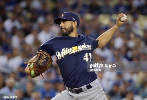 Pitcher Gio Gonzalez of the Milwaukee Brewers pitches during the first inning of Game Four of the National League Championship Series against the Los...