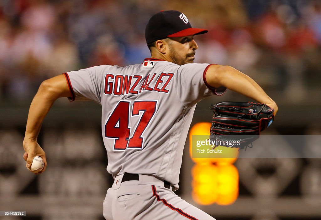 Pitcher Gio Gonzalez #47 of the Washington Nationals delivers a pitch against of the Philadelphia Phillies during the first inning of a game at Citizens Bank Park on September 26, 2017 in Philadelphia, Pennsylvania. The Phillies defeated the Nationals 4-1.