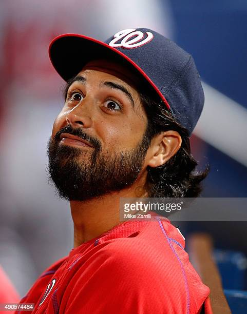 Pitcher Gio Gonzalez of the Washington Nationals jokes in the dugout during the game against the Atlanta Braves at Turner Field on September 29 2015...