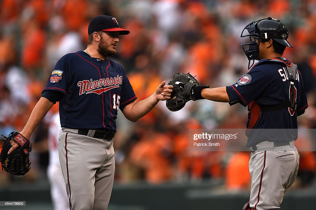 Pitcher Glen Perkins #15 of the Minnesota Twins celebrates with catcher Kurt Suzuki #8 after defeating the Baltimore Orioles at Oriole Park at Camden Yards on September 1, 2014 in Baltimore, Maryland. The Minnesota Twins won, 6-4.
