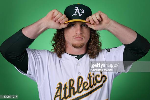 Pitcher Grant Holmes of the Oakland Athletics poses for a portrait during photo day at HoHoKam Stadium on February 19 2019 in Mesa Arizona