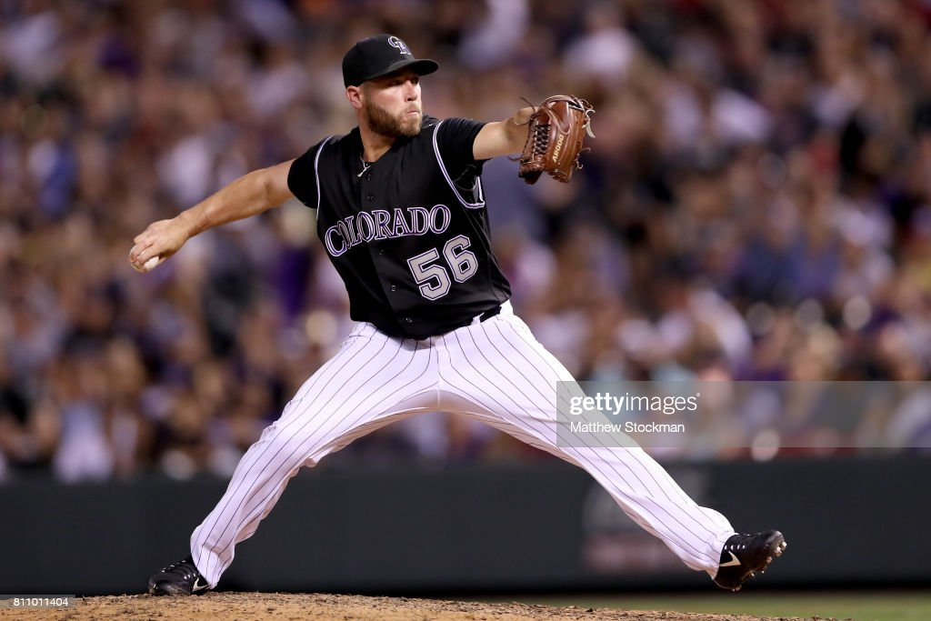 Pitcher Greg Holland #56 of the Colorado Rockies throws in the ninth inning against the Chicago White Sox at Coors Field on July 8, 2017 in Denver, Colorado.