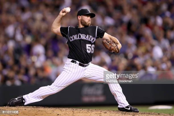 Pitcher Greg Holland of the Colorado Rockies throws in the ninth inning against the Chicago White Sox at Coors Field on July 8 2017 in Denver Colorado