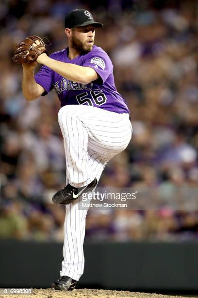 Pitcher Greg Holland of the Colorado Rockies throws in the ninth inning against the San Diego Padres at Coors Field on July 17 2017 in Denver Colorado