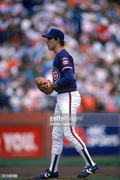 Pitcher Greg Maddux of the Chicago Cubs on the mound during a MLB season game on July 18 1987 Greg Maddux played for the Chicago Cubs from 19861992...