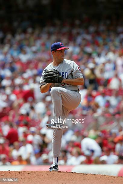 Pitcher Greg Maddux of the Chicago Cubs pitches against the Cincinnati Reds during the game on July 21, 2005 at Great American Ballpark in...