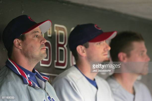 Pitcher Greg Maddux of the Chicago Cubs sits in the dugout during the game against the San Francisco Giants at SBC Park on August 8 2004 in San...