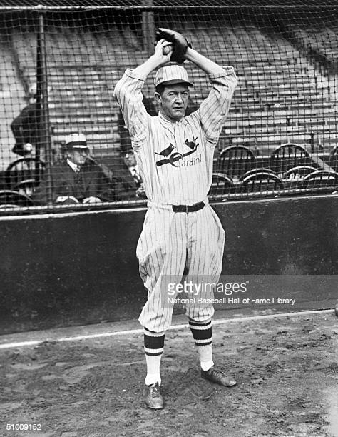 Pitcher Grover Cleveland Alexander of the St Louis Cardinals poses for an action portrait Ole' Pete played for the St Louis Cardinals from 19261929