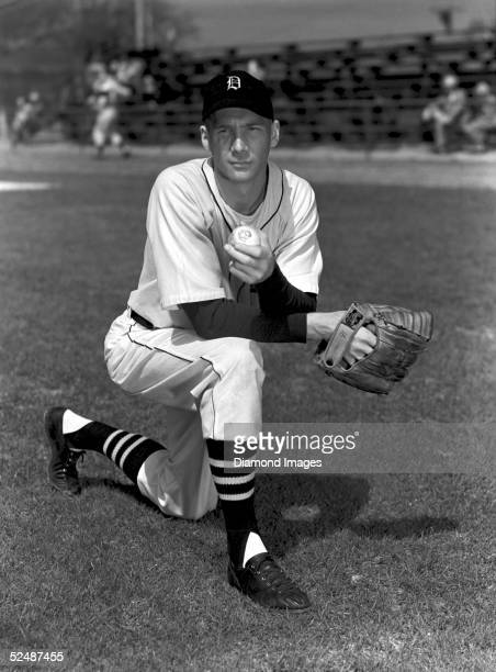 Pitcher Hal Newhouser of the Detroit Tigers poses for a portrait during March 1948 Spring Training in Lakeland Florida